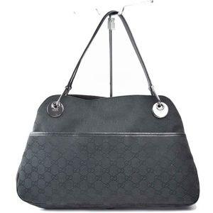 Auth Gucci Hand Bag GG Black Canvas 395G3112